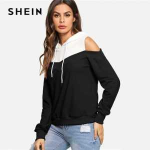 SHEIN Black And White Casual Drawstring Hoodie