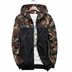 Men Bomber Jacket Thin Slim Long Sleeve Camouflage Military Jackets Hooded 2018 Windbreaker Zipper Outwear Army Brand Clothing