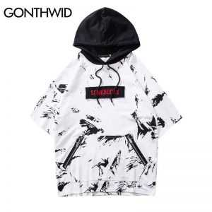 GONTHWID Hip Hop Short Sleeve Graffiti Ink Hoodie