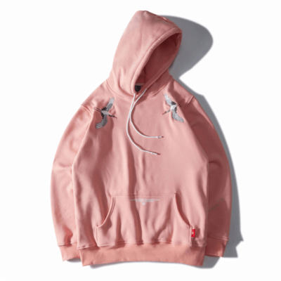 EMBROIDERED Cranes Fleece Hoodie