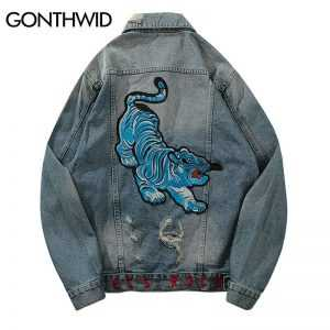 GONTHWID Vintage Emboridery Tiger Ripped Denim Jean Jackets Men Fashion Casual Cotton Distressed Denim Jacket Hip Hop Streetwear