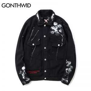 GONTHWID Hip Hop Graffiti Cartoon Ripped Denim Jackets Mens Casual Distressed Jeans Jacket Coat Streetwear Fashion Male Tops