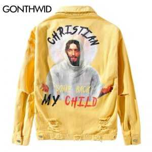 GONTHWID God Printed Ripped Hole Destroyed Denim Jackets 2018 Mens Fashion Casual Fit Jeans Denim Jacket Coats Outwear