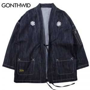 GONTHWID Japanese Kimono Jackets Japan Style Zipper Pocket Embroidery Men 2018 Streetwear Male Fashion Hip Hop Casual Coats