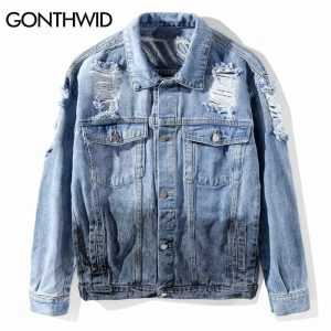 GONTHWID Men Patchwork Ripped Hole Destroyed Tie Dye Denim Jackets 2018 MaleHip Hop Casual Jean Jacket Coats Streetwear Fashion