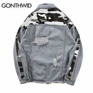 GONTHWID Vintage Camo Camouflage Patchwork Ripped Hole Denim Jacket Men 2018 Hip Hop Casual Distressed Denim Jeans Jackets Male
