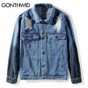 GONTHWID Embroidery Grim Reaper Rose Ripped Hole Destroyed Denim Jackets Sleeve Tie Dye Casual Jeans Jacket Coats Hip Hop Street