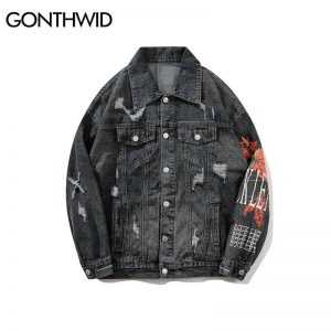 GONTHWID Vintage Mens Maple Leaf Printed Ripped Denim Jacket Mens Distressed Denim Jean Jackets Male Hip Hop Casual Streetwear