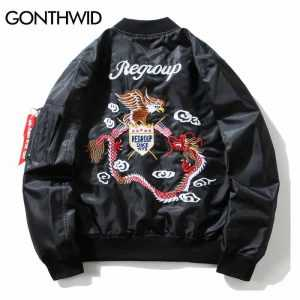 GONTHWID Eagle Dragon Embroidery MA1 Bomber Jacket Coat 2017 Chinese Thin Pilot Bomber Jackets Hip Hop Zipper Pocket Streetwear