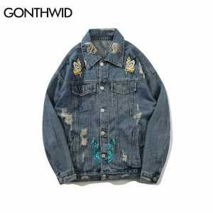 GONTHWID Vintage Butterfly Printed Ripped Hole Denim Jackets Mens Fashion Casual Distressed Denim Jeans Jacket Streetwear Male