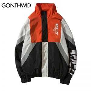 GONTHWID Vintage Color Block Jackets Men Printed Patchwork Windbreaker Jacket Coats 2018 Hip Hop Fashion Full Zip Streetwear