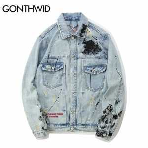 GONTHWID Mens Graffiti Denim Jackets Streetwear 2018 Hip Hop Casual Patchwork Ripped Distressed Punk Rock Jeans Coats Outwear