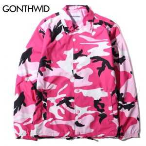 GONTHWID Color Camo Windbreaker Coaches Jackets Coat 2017 Autumn Hip Hop Turn Down Collar Comouflage Coats Streetwear 8 Colors