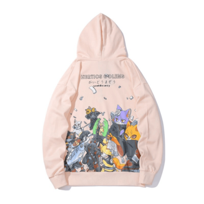 Embroidered Japanese Cat Hoodie