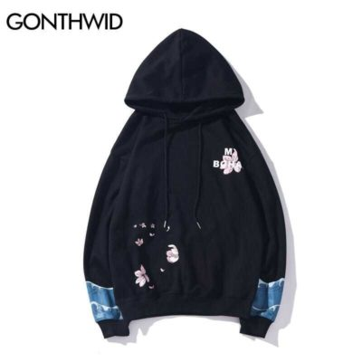 GONTHWID Harajuku Cherry Blossoms Crane Wave Print Hooded Sweatshirts Hoodies Streetwear Japanese Style Casual Hip Hop Mens Tops