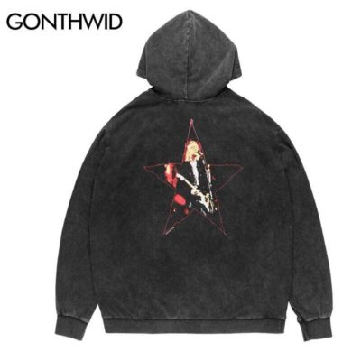 GONTHWID Vintage Distressed Kurt Cobain Hooded Sweatshirts Hoodies Streetwear Mens Hip Hop Hipster Gothic Punk Rock Pullver Tops