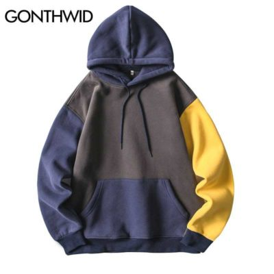 GONTHWID Hip Hop Color Block Patchwork Fleece Hoodies Pullover Hooded Sweatshirts Mens Harajuku Fashion Casual Streetwear Hoodie