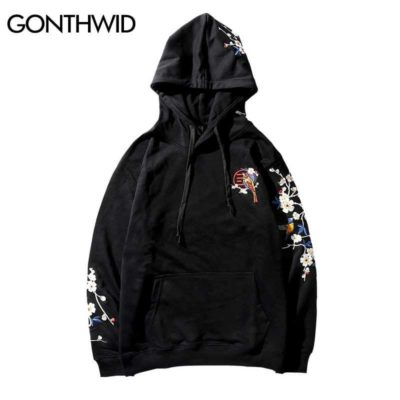 GONTHWID Embroidery Plum Flowers Bird Hoodies 2019 Winter Men Casual Hooded Sweatshirts Male Fashion Hip Hop Streetwear Hoodie