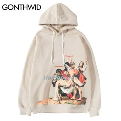 GONTHWID Entombment of Christ Painting Print Hoodies Hip Hop Funny Sweatshirts Streetwear 2019 Men Fashion Pullover Hooded Tops