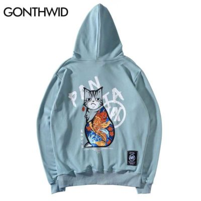 GONTHWID Harajuku Japanese Ukiyo-e Tattoo Cat Print Hoodies Sweatshirts Hip Hop Pullover Hooded Streetwear Tops Fashion Hoodies