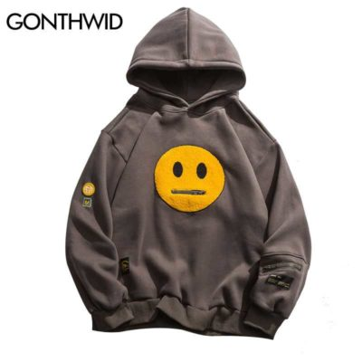 Zippered Smiley Face Patchwork Hoodie
